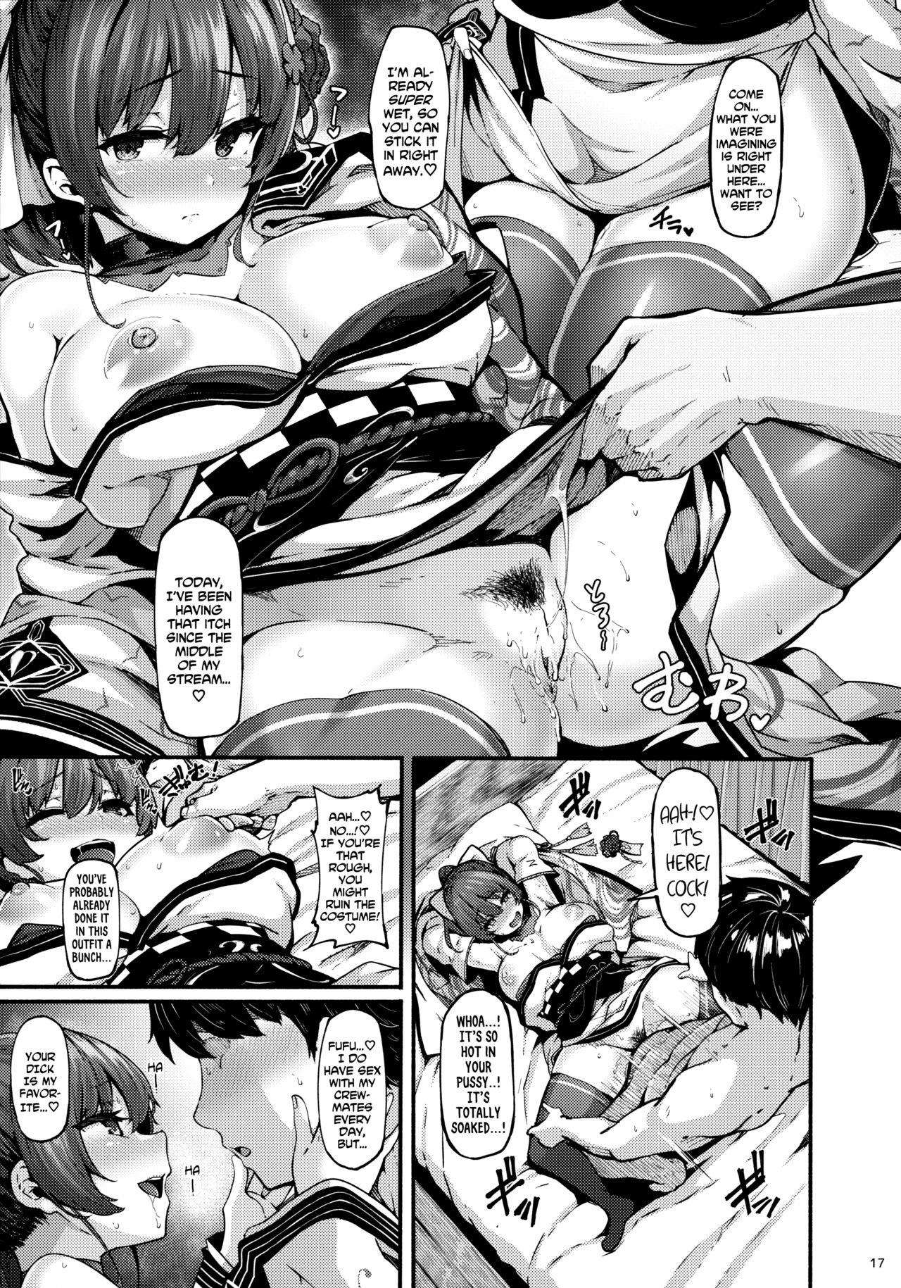 (Akihabara Chou Doujinsai) [LAMINARIA (Shiokonbu)] Kimi-tachii Senchou to Off-pako Shitain desu kaa | You Guys~! Do You Wanna Have Offline Sex With Senchou? (Houshou Marine) [English] [Xzosk] 16