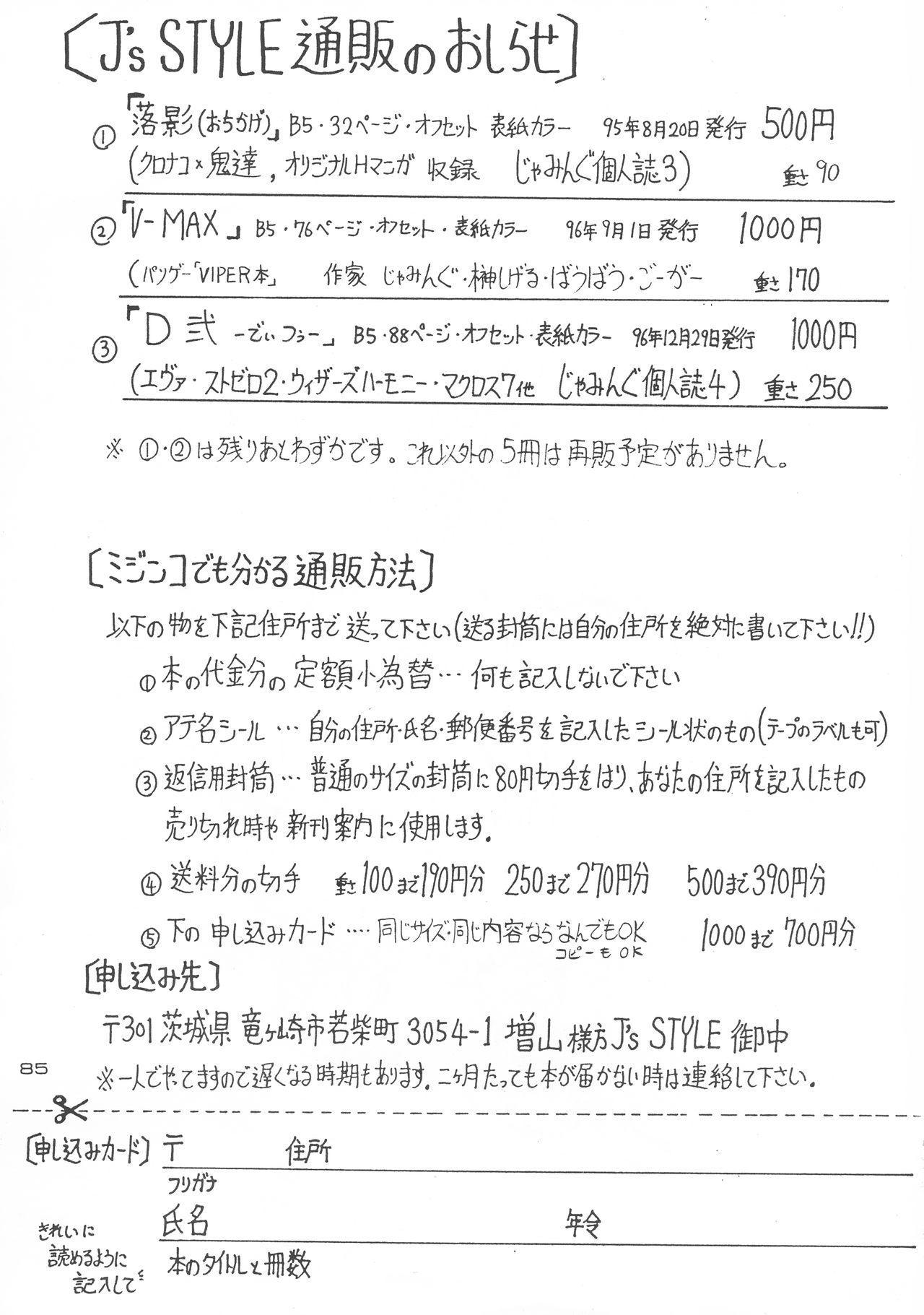 (C51) [J's Style (Jamming)] D2 (DOUBT TO DOUBT) Jamming Kojinshi 4 -Ditsuu- (Various) 84